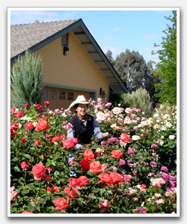 Photo of Brooke in her rose garden